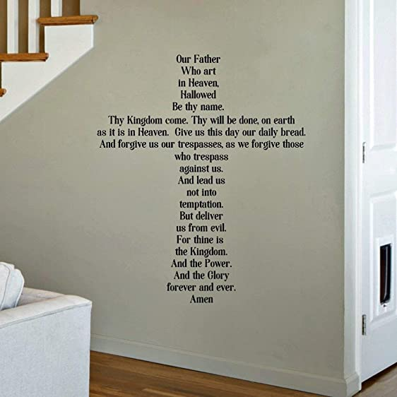 The Lord s Prayer Decal, Our Father Prayer Wall Decor, Scripture Quotes, 30 x 36 Black Print Font