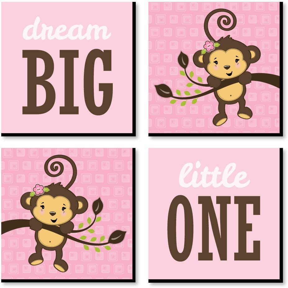 Pink Monkey Girl - Kids Room, Nursery Decor
