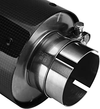 Auspuffrohr Edelstahl Endrohr Qiilu Auspuff Auspuffendrohr Edelstahl Glänzende Carbonfaser 63mm 114mm Auto