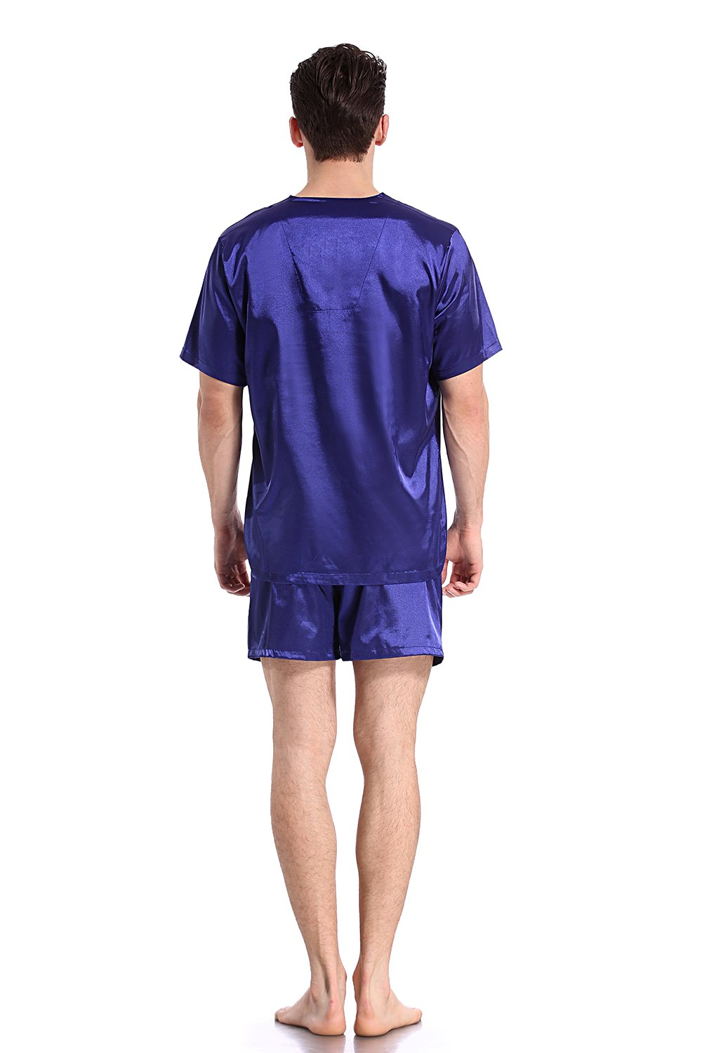 Like2sea Summer Silky Satin Pajamas for Men, Short V-Neck Button Down PJ Set with Mask, Blue, XL by Like2sea (Image #4)