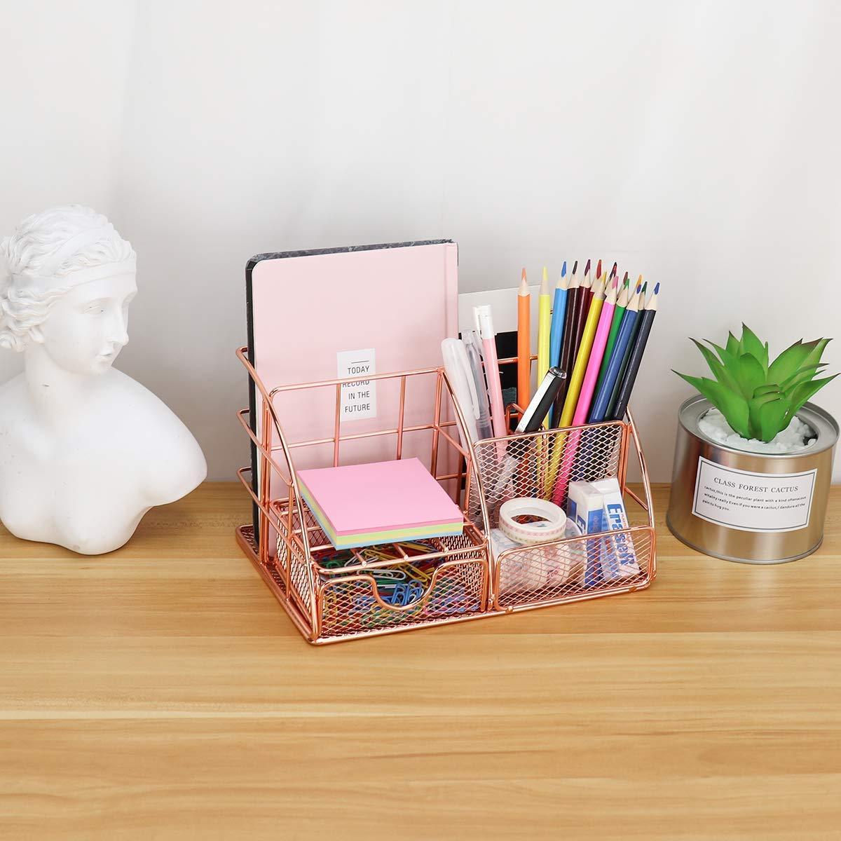 escuela y hogar soporte para bol/ígrafos organizador de oficina en oro rosa con bandeja para cartas Organizador de escritorio de MORIGEM de metal para oficina organizador de documentos y caj/ón