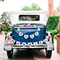 Just Married Car Window Decal & Just Married Bunting Banner Bundle, Konsait Just Married Car Sticker (7×23in) with Garland Banner for Wedding Honeymoon Car Decoration Newlywed Wedding Gift