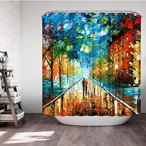 Vividhome Lovers Love Faith Theme Oil Painting Romantic Shower Curtain Fall Forest Park Cute Couple Polyester Fabric Waterproof Bathroom Shower Curtains Liner with 12 Rust Proof Hooks 72x72 (Colorful) (Couples Shower Curtain)