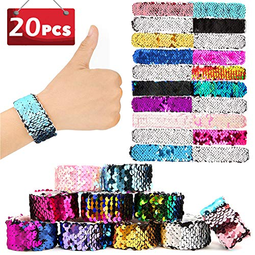 SCIONE Mermaid Slap Bracelets 20 Pack Party Favors Kids Christmas School Classroom Prizes Girls Dance Birthday Party Pack Flip Sequin
