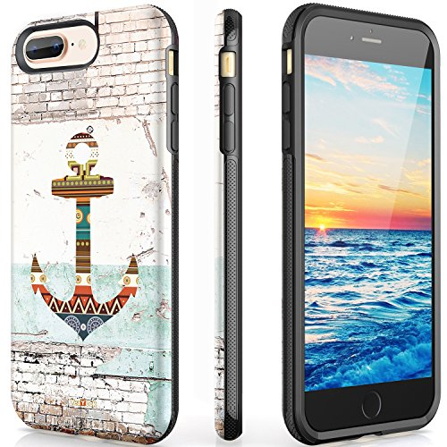 VeaYook Anchor Case for iPhone 8 Plus iPhone 7 Plus iPhone 6/6S Plus with Ring Kickstand Slim Dual Layer Anti-Scratch Anti-Finger High Impact Strong Durable Shockproof Absorbing (Clasicc Anchor) (Iphone Anchor Case)