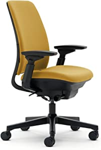 Steelcase Amia Ergonomic High-Back Office Chair with Adjustable Back Tension and Arms | Flexible Lumbar with Sliding Seat | Black Frame and Yellow Fabric