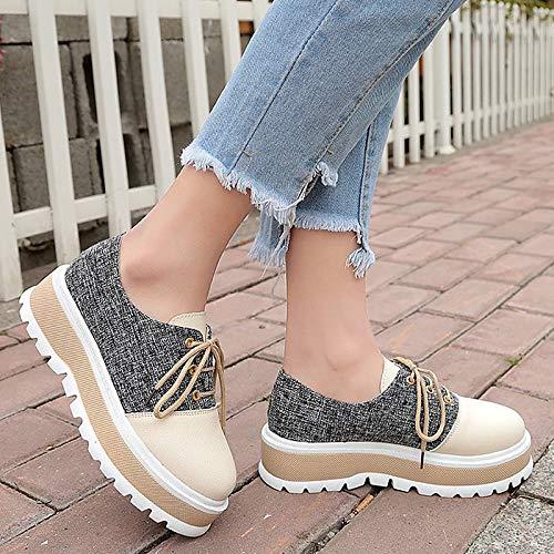 Round Mujer PU ZHZNVX de Almond Black Zapatos Black Sneakers Comfort Poliuretano Summer Toe Creepers qSxzZwE