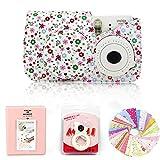 Gvirtue 4 in 1 Compatible with Fujifilm Instax Mini 8 8+ 9 Instant Film Camera Accessories Bundles (Instax Mini 8 8+ 9 Case/Album/Close-up Selfie Lens/Film Stickers) Floral