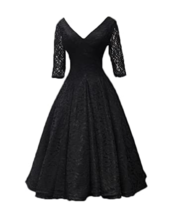 CIRCLEWLD Lace Flare Swing Midi Cocktail Evening Dresses Half Sleeves Wedding Bridal Gown Black Size 2