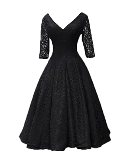 Stillluxury Lace Flare Swing Midi Cocktail Evening Dresses Half Sleeves Wedding Bridal Gown Black Size 6