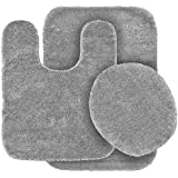 GorgeousHomeLinen (#6) 3 PC Solid Bathroom Set Bath Mat, Contour, And Lid  Cover, With Rubber Backing (Silver)