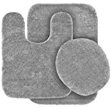 BATHROOM SET RUG CONTOUR MAT TOILET LID COVER PLAIN SOLID COLOR BATHMATS SILVER GRAY #6 3PC