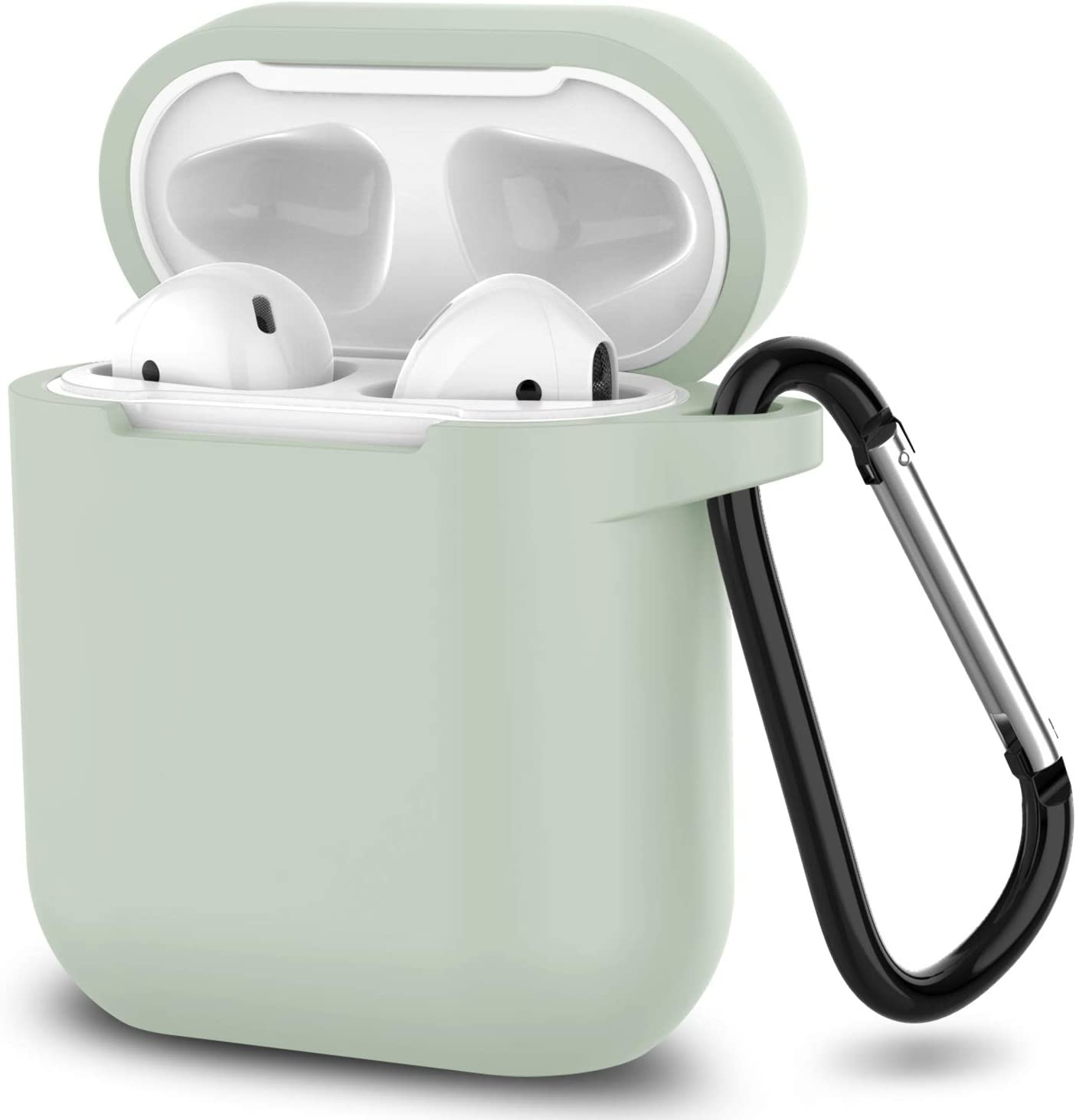 AirPods Case,SATLITOG Protective Silicone Cover Compatible with Apple AirPods 2 and 1(Not for Wireless Charging Case)(Fog)