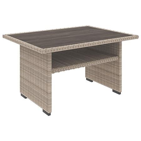 Ashley Furniture Signature Design – Silent Brook Outdoor Multi-Use Table – Resin Wicker – Shelf – Beige