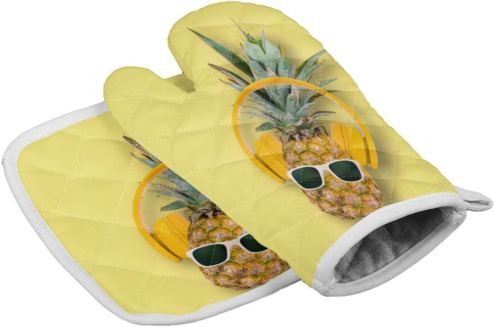 Chic Decor Home Set of Oven Mitt and Pot Holder,Funny Pineapple Sunglasses Music Yellow