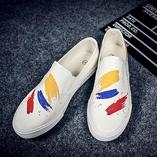 LI SHOP Colore Graffiti scarpe tela di pigre 5 vecchio tessuto scarpe 8 scarpe Pechino XIANG shoes Casual di EU41 canvas Bianca da UK7 dimensioni Bianca CN42 SHI coreano uomo XrEqRr