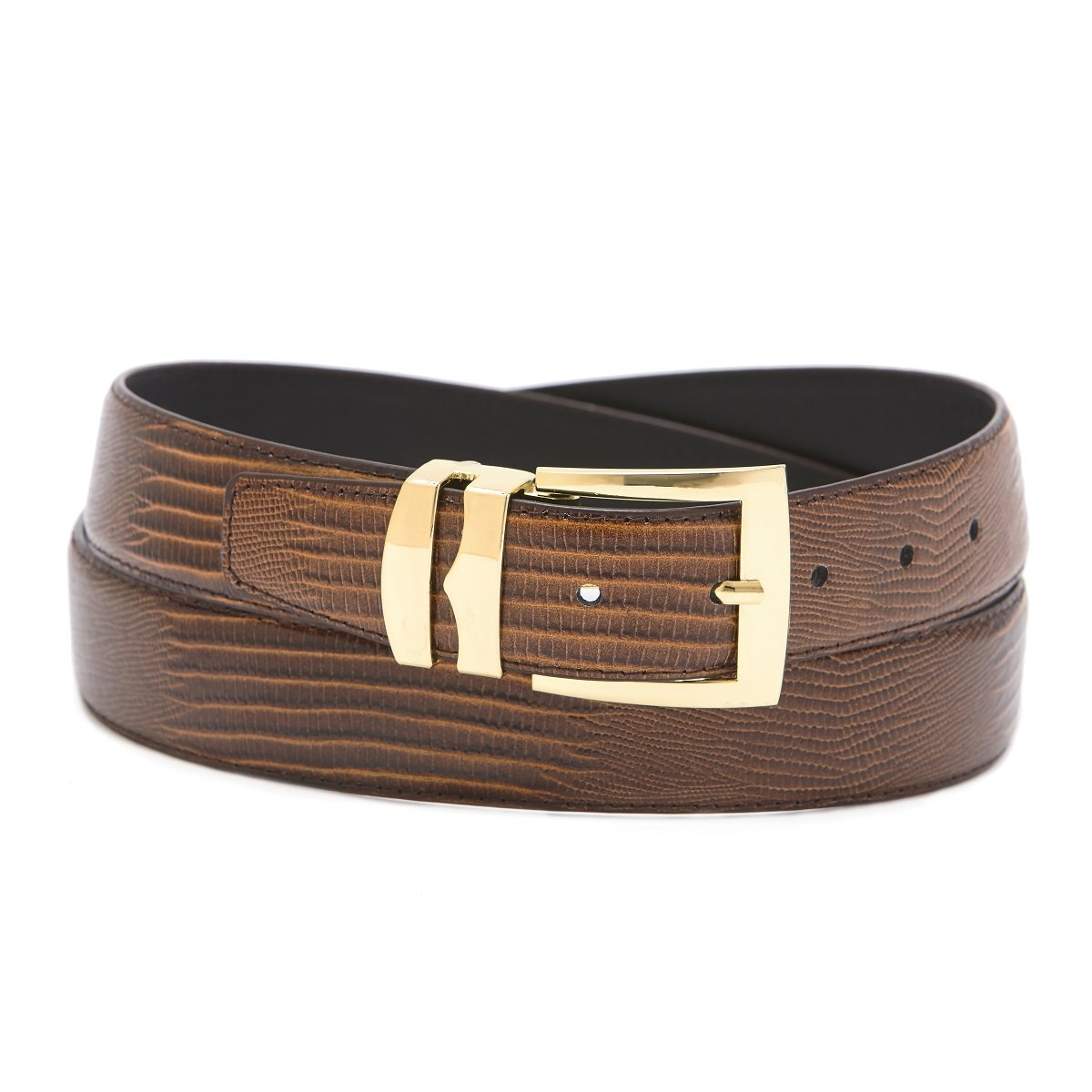 Mens Bonded Leather Belt in Solid Colors LIZARD Skin Pattern Gold-Tone Buckle