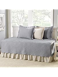 grey cotton 5piece daybed cover set with bedskirt and vintage style included cross - Daybed Cover Sets