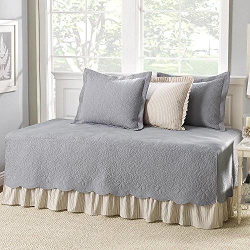 Grey Cotton, 5-piece Daybed Cover Set with Bedskirt and Vintage Style Included Cross Scented Candle ()