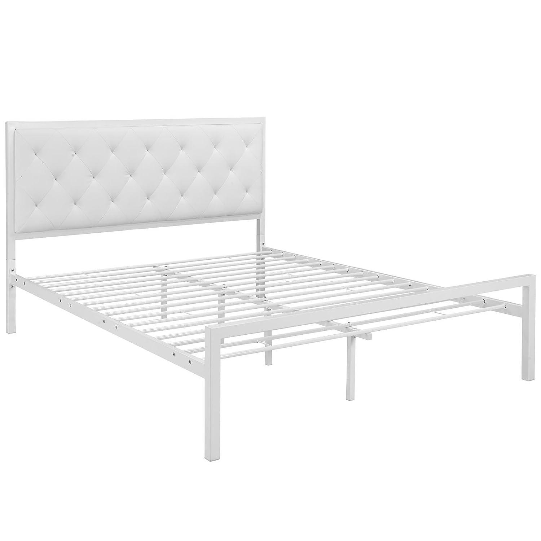 White modern platform bed - Amazon Com Modway Mia Vinyl Platform Bed Frame Queen White Kitchen Dining