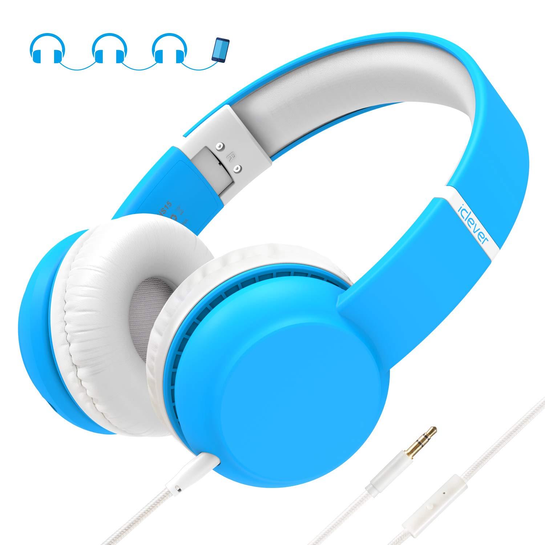 Cuffie per bambini, iClever Auricolari per Bambini con di limite volume protezione per l'udito e funzione di condivisione della musica per iPod iPad iPhone Android Telefono cellulare MP3 MP4