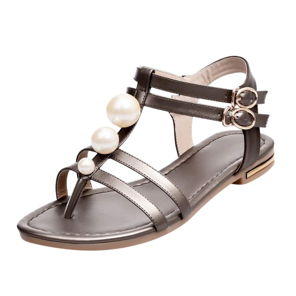 2019 New Women's Casual Pearl Sandals Summer Outdoor Open Toe Band Ankle Strap Buckle Lightweight Soft Flats Party Sandals (Brown, US:6.5) by AuroraX Sandals