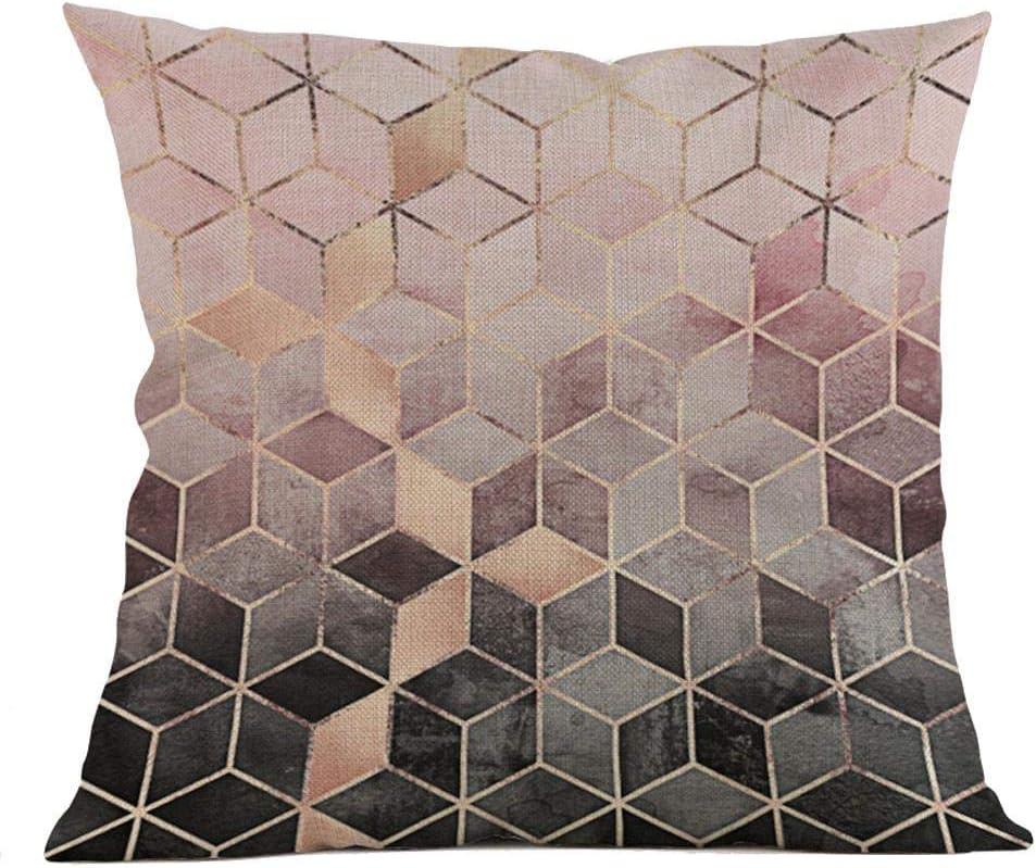 VJGOAL Moda impresión geométrica cómoda Almohada Cintura Cuadrado Funda de cojín sofá decoración para el hogar(45_x_45_cm,Multicolor1)