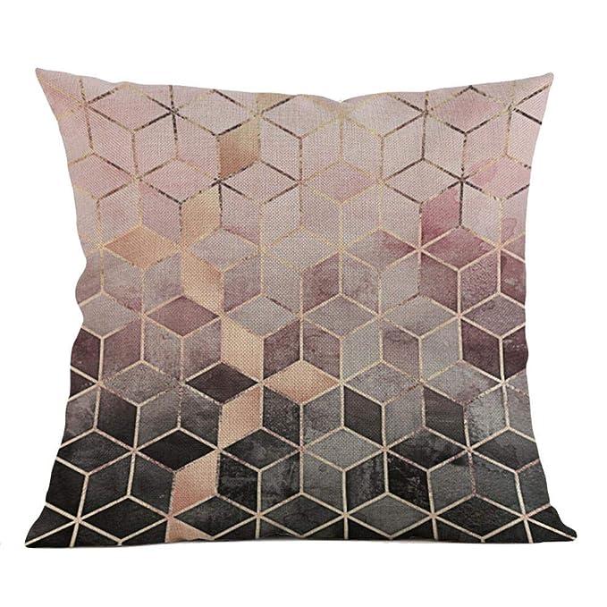 VJGOAL Moda impresión geométrica cómoda Almohada Cintura Cuadrado Funda de cojín sofá decoración para el hogar(45_x_45_cm,Multicolor6)