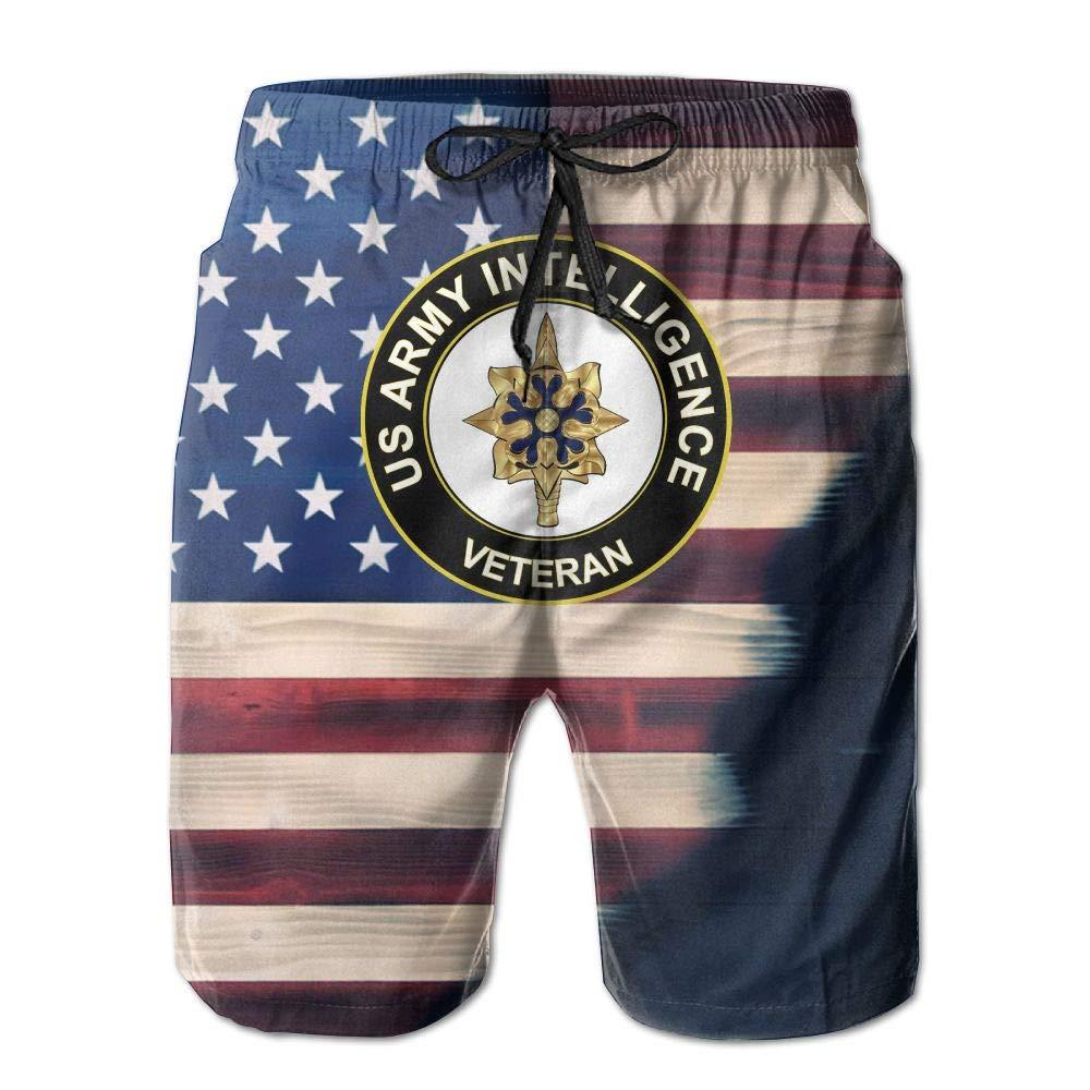 HANINPZ US Army Veteran Intelligence American Flag Mens Swim Trunks Board Shorts