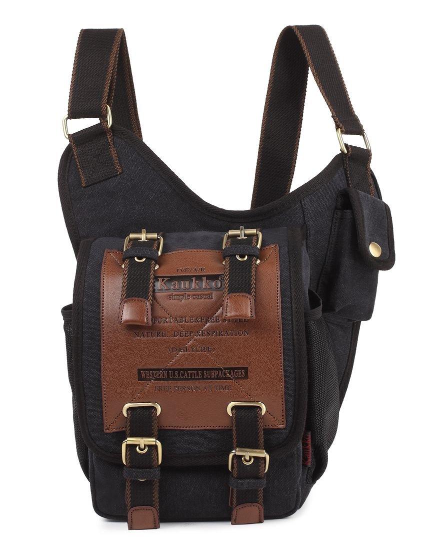 Canvas Leather Messenger Bag, Men's Vintage Shoulder Pack for Work, Business, School and Travel by KAUKKO (Black) Kaukko-SG255-Black
