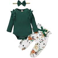 ZOEREA Conjunto de Ropa de Bebé Niña Manga Larga Mameluco con Volantes Mono Body + Pantalones Floral + Venda Recién…