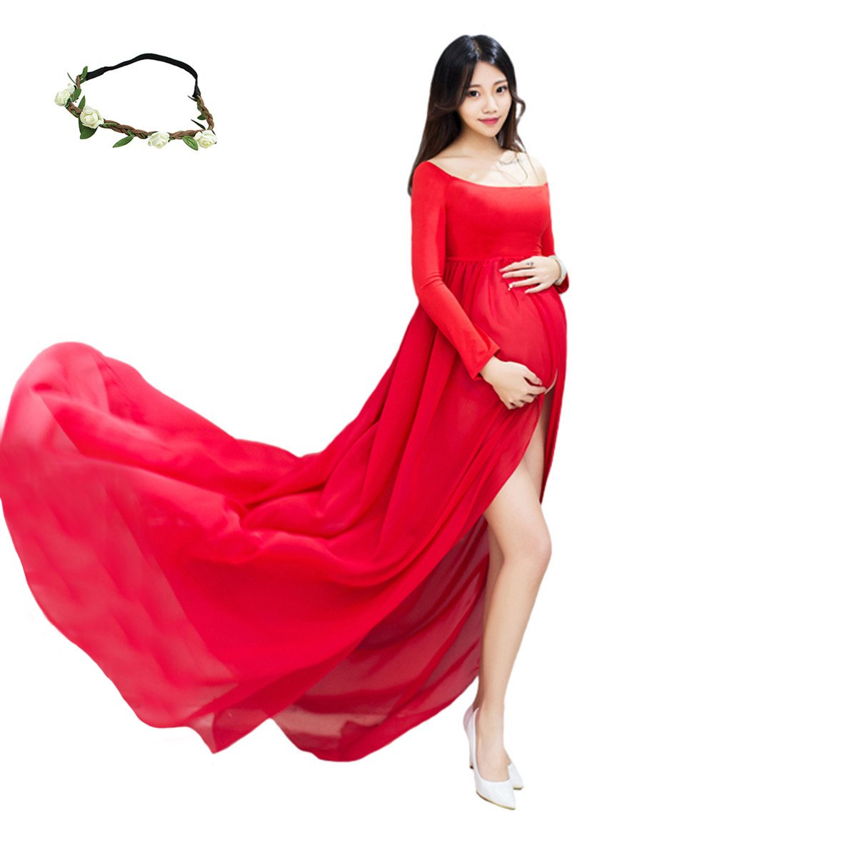 55432dc22f5 Maternity Off Shoulder Split Front Sheer Chiffon Gown Maxi Photography Dress  for Photo Shoot