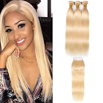 Human Hair Weaves 2019 Latest Design March Queen Brazilian Hair Straight 3 Bundles With Closure #27 Honey Blonde Color Hair Human Hair Weave With 4*4 Lace Closure Ideal Gift For All Occasions Hair Extensions & Wigs