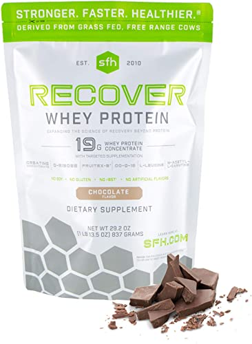 Recover Whey Protein Powder Chocolate by SFH Great Tasting 100 Grass Fed Whey for Post Workout All Natural No Soy, No Gluten, No RBST, No Artificial Flavors Bag