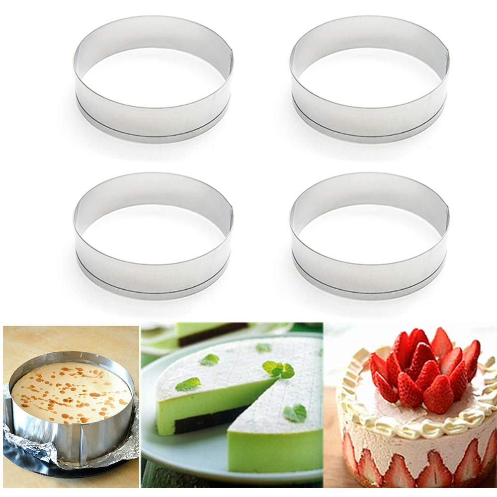 Happy reunion Muffin Rings 4''X0.79'' Egg Pancake Rings English Stainless Steel Tart Rings Pastry and Baking Tools for Making Donuts, Biscuits, Burgers Set of 4 (4 pcs)
