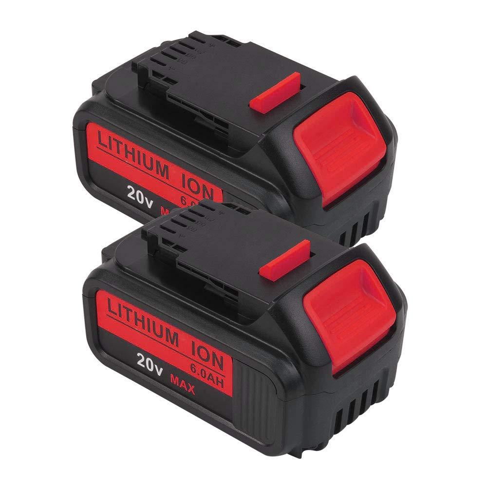 2 PACK 20V 6.0 Ah DCB205 Battery Replacement MAX XR Lithium Battery for Dewalt 20 Volt Battery DCB205-2 DCB206 DCB206-2 DCB204 DCB204BT-2 DCB203 DCB201 DCB200
