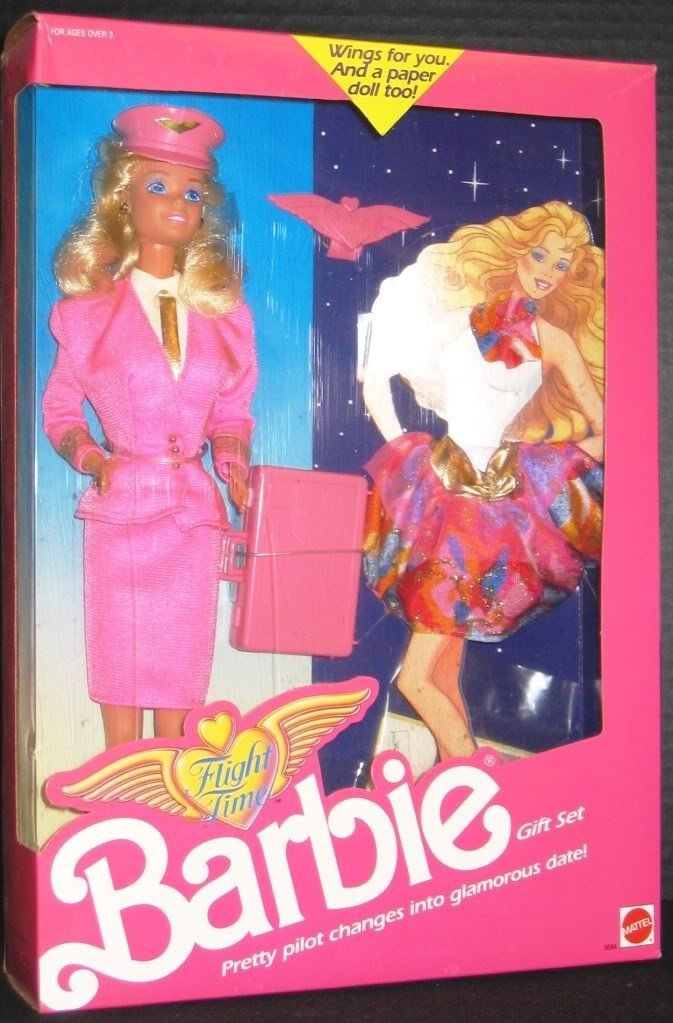 Barbie Doll Flight Time Gift Set 1989 New