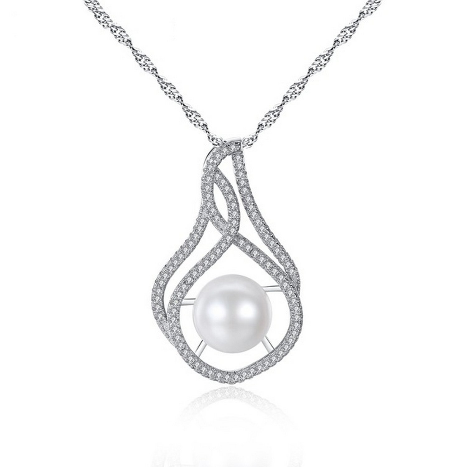 CS-DB Jewelry Silver Luxury Pearl Chain Charm Pendants Necklaces