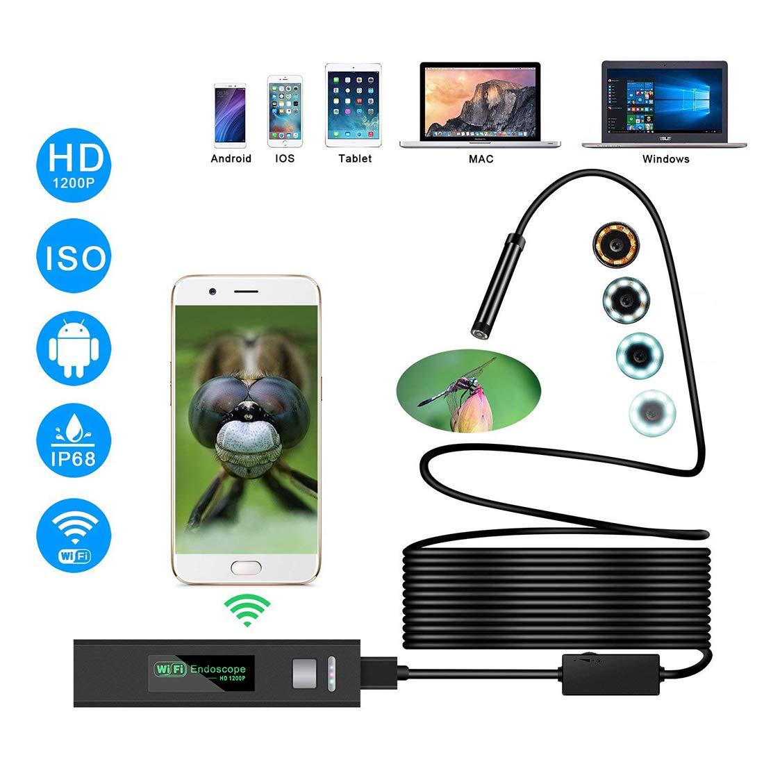 YOMYM Endoscope iphone, Endoscope WiFi 2.0 Mé gapixels 1200P HD Semi Rigide d'Inspection Camé ra, IP68 Etanche Endoscope avec 8 LEDs pour iOS,iPhone,Android,Tablette - 5 Mè tres Tablette - 5 Mètres
