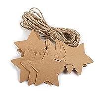 Hosaire 100Pcs Cadeau Tags Vintage étiquettes Cadeaux en Papier Kraft Tags Forme de Etoile à cinq pointes Décor de Mariage Noël Fête avec Corde 2m