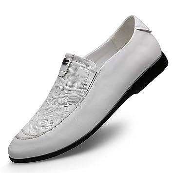 YAN Zapatos Formales para Hombres, Mocasines y Zapatillas sin Cordones, Zapatos de Vestir de Cuero de Moda Low-Top Zapatos Casuales para Bodas y Noches ...