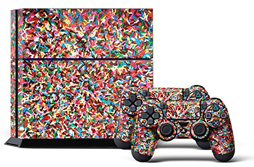 PS4 Console Designer Skin for Sony PlayStation 4 System plus Two(2) Decals for: PS4 Dualshock Controller Sprinkle