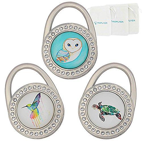Price comparison product image ROFLYER Purse Hook Set of 3 - Foldable Handbag Hanger Folding Table Hanger (S05)