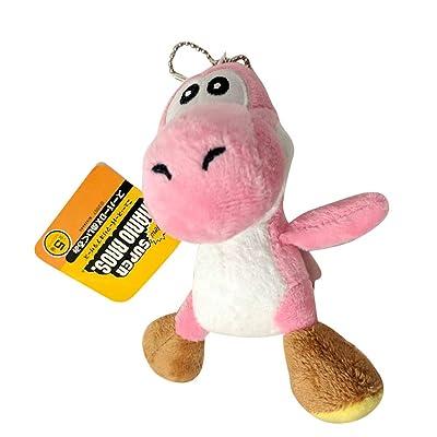 "Lanyardx Super Mario Yoshi Keychain 4.5"" Plush Toy (Pink): Toys & Games"