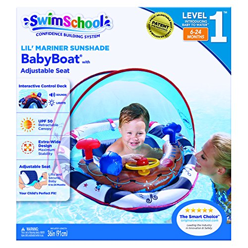 SwimSchool Lil' Mariner Fabric Baby Pool Float, Baby Boat with Adjustable Safety Seat, Splash and Play Activity Center, Extra-Wide Inflatable Pool Float with Canopy UFP50, 6 to 24 Months, Blue