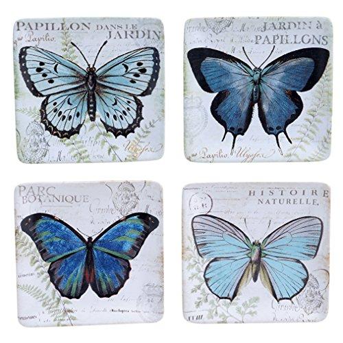 Certificado internacional diseños surtidos Tuileries jardín para canapés platos (juego de 4), 6', multicolor