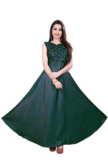 a6b4dc56a737b Parul Lifestyle Women's Taffeta Satin Stitched Gown (Free Size) (Green)