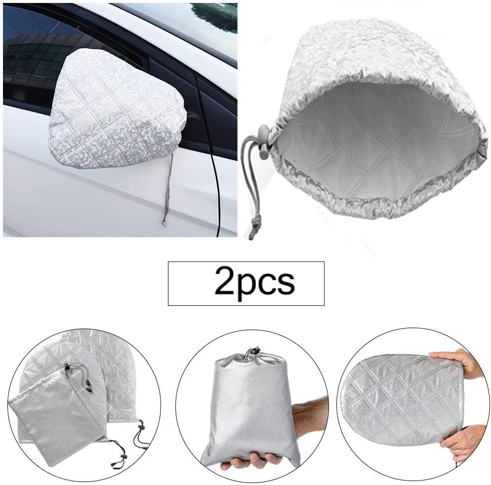 Frostschutzabdeckung mit wasserdichtem Kordelzug Sch/ützen Sie den Auto-R/ückspiegel vor Schnee und EIS Packung mit 2 Autoseitenspiegelabdeckungen Wnter