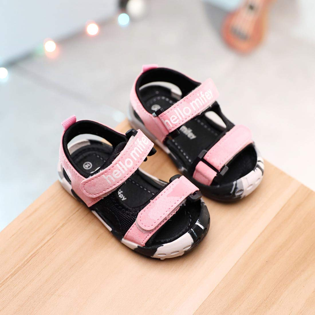 YIBLBOX Baby Boys Girls Summer Breathable PU Open-Toe Beach Two-Strap Sandals 12-36 Months