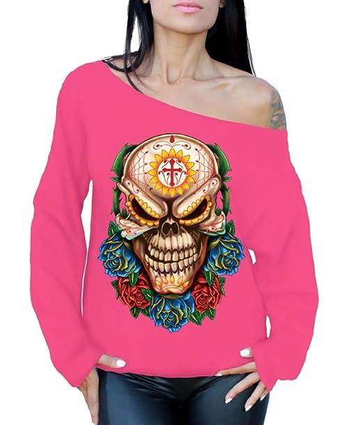 Awkward Styles Evil Day of Dead Sugar Skull Oversized Sweatshirt